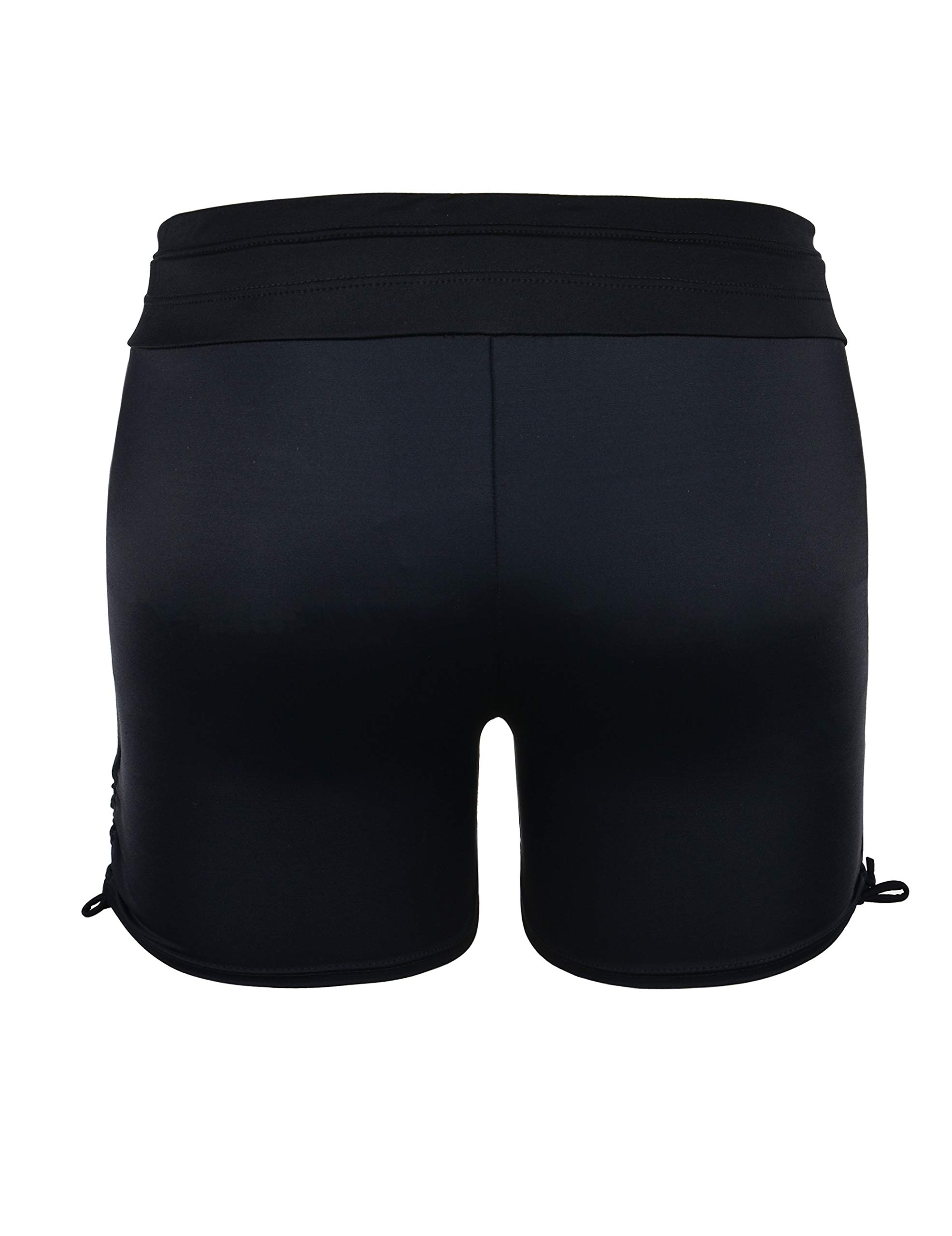 Septangle Womens Black Swim Sports Board Shorts Bottom with Side Ties,US 14 by Septangle (Image #3)