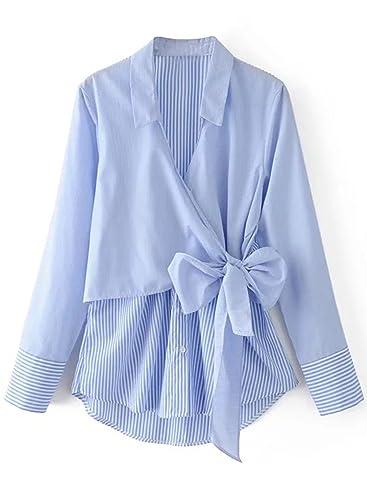 Azbro Mujer Camisa Rayada con Docoración de Lazo con Cuello Vuelto-abajo