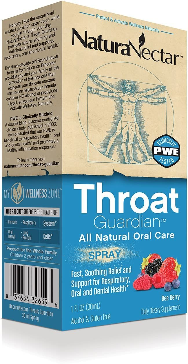 NaturaNectar Bee Propolis Throat Spray - Bee Berry - 30 ml - Throat Guardian for Immune Support, Fast, Soothing Relief - All Natural Oral Care