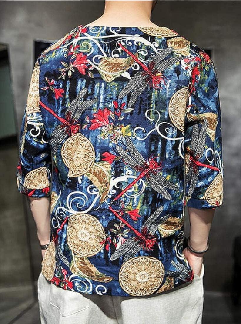 ouxiuli Mens Frog Button Prints Casual Linen Shirts