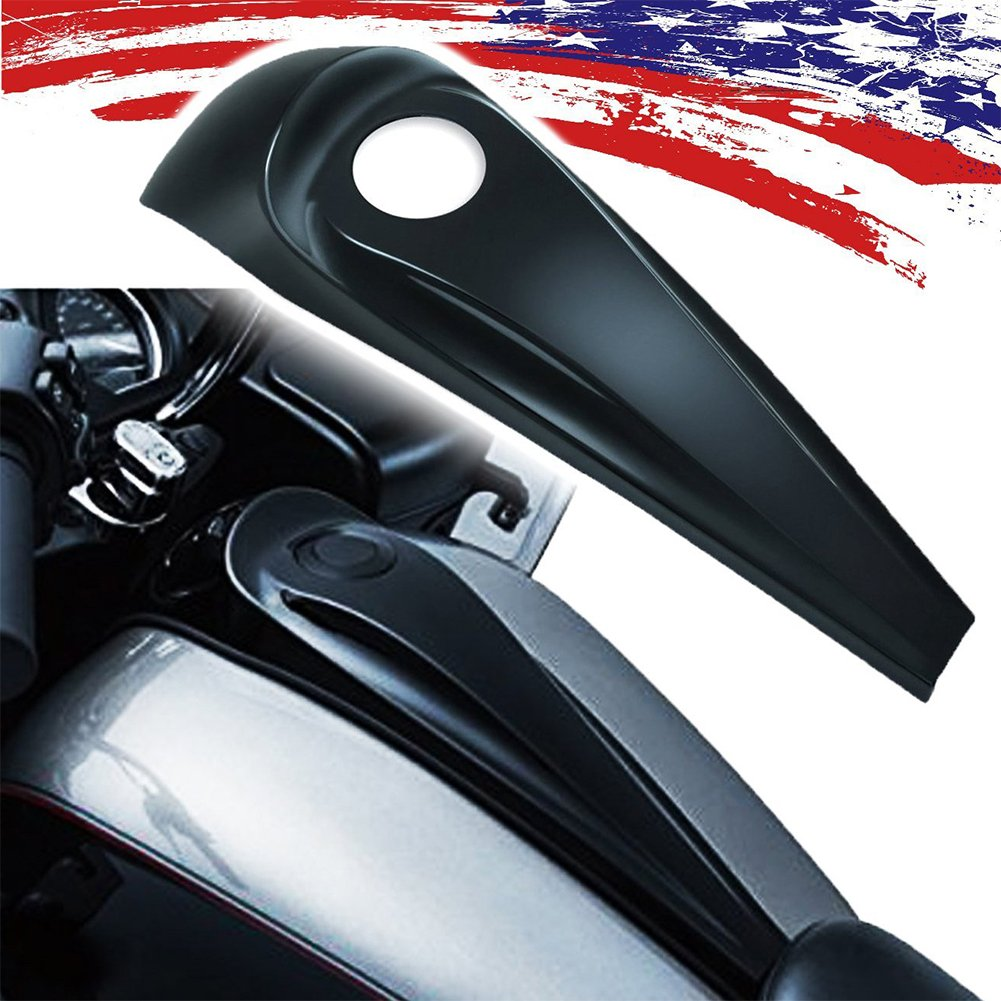 (2008-2017 for Harley Street/Road Glide Harley Accessories) Decorative Fuel Tank Cover/Lock Cover Gloss Black Signature Jim Nasi Smooth Dash