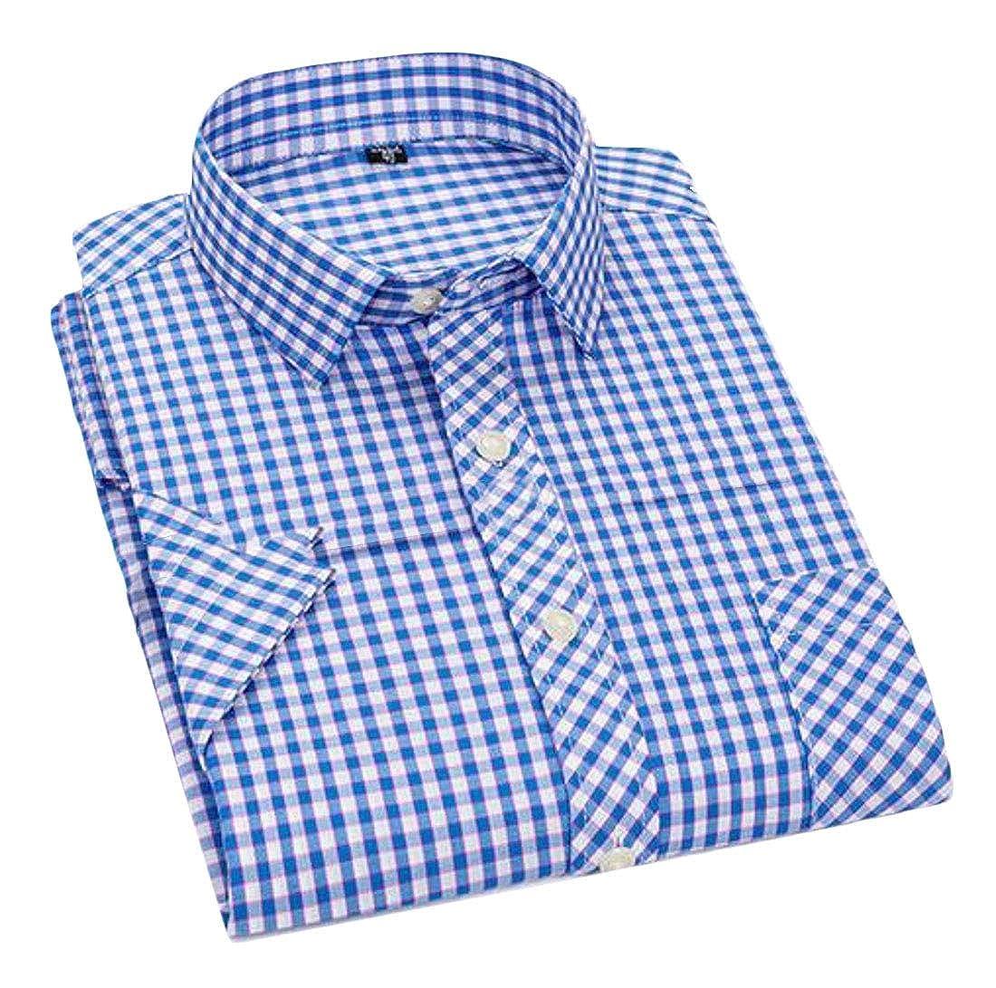 pipigo Mens Summer Button Down Casual Plaid Print Short Sleeve Cotton Checkered Shirt