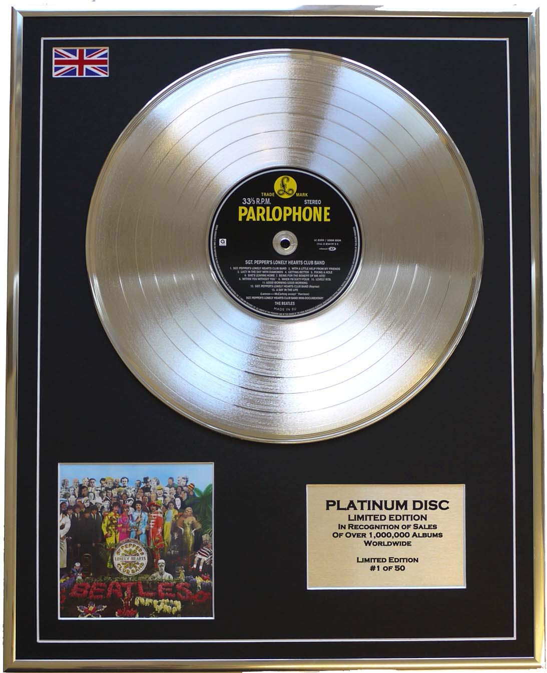 THE BEATLES//Limitierte Edition Platin Schallplatte/SGT. PEPPERS LONELY HEARTS CLUB BAND