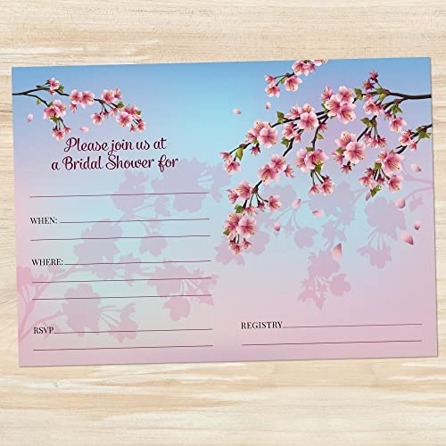 amazon com ombre cherry blossom bridal shower invitation set of 10