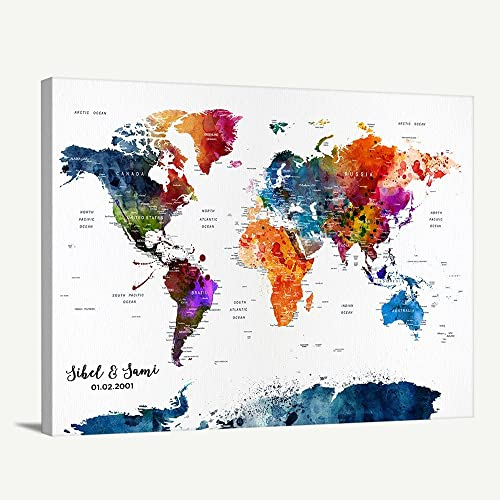 Amazon custom world map canvas print world map push pin custom world map canvas print world map push pin travel map wall art canvas print gumiabroncs Image collections