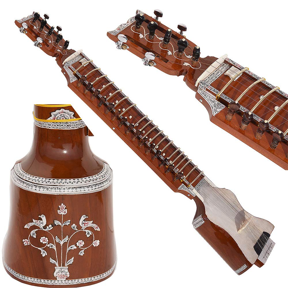Dilruba Beginner Quality -Gig Bag, 4 Main String, 15 Sympathetic String, Tun Wood, Beautiful Craft Work, Sweet Sound, Natural Wood Colour, With Bow, Extra String & Rosin For Bhajan, Kirtan, Mantra by Kaayna Musicals