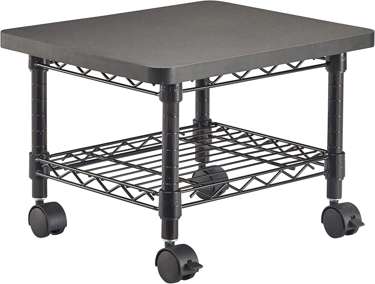 Safco Products Under Desk Printer/Fax Stand , Black Powder Coat Finish, Swivel Wheels for Mobility: Furniture & Decor