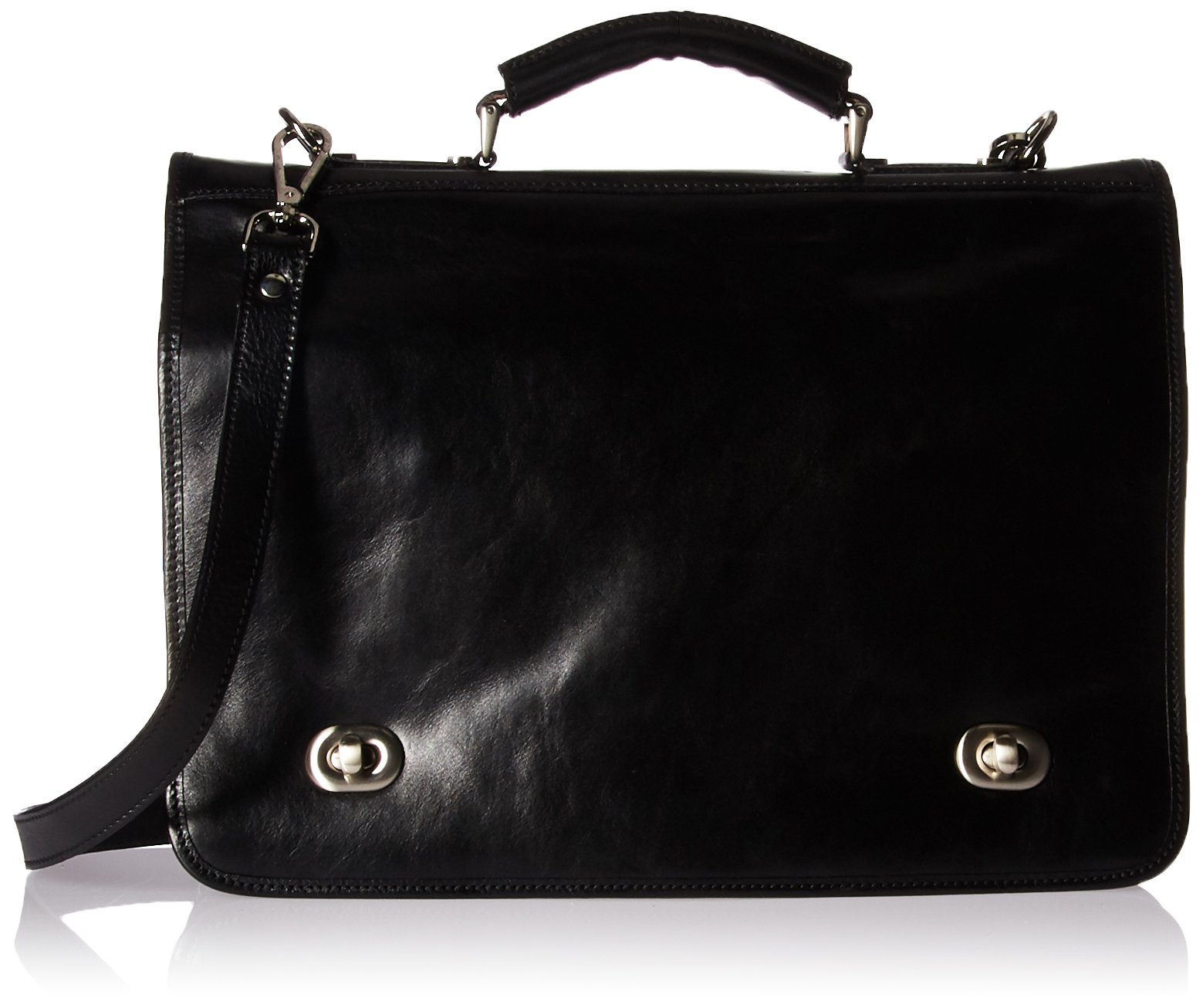 Luggage Depot USA, LLC Men's Alberto Bellucci Italian Leather Double Compartment Laptop Messenger Bag, Black, One Size