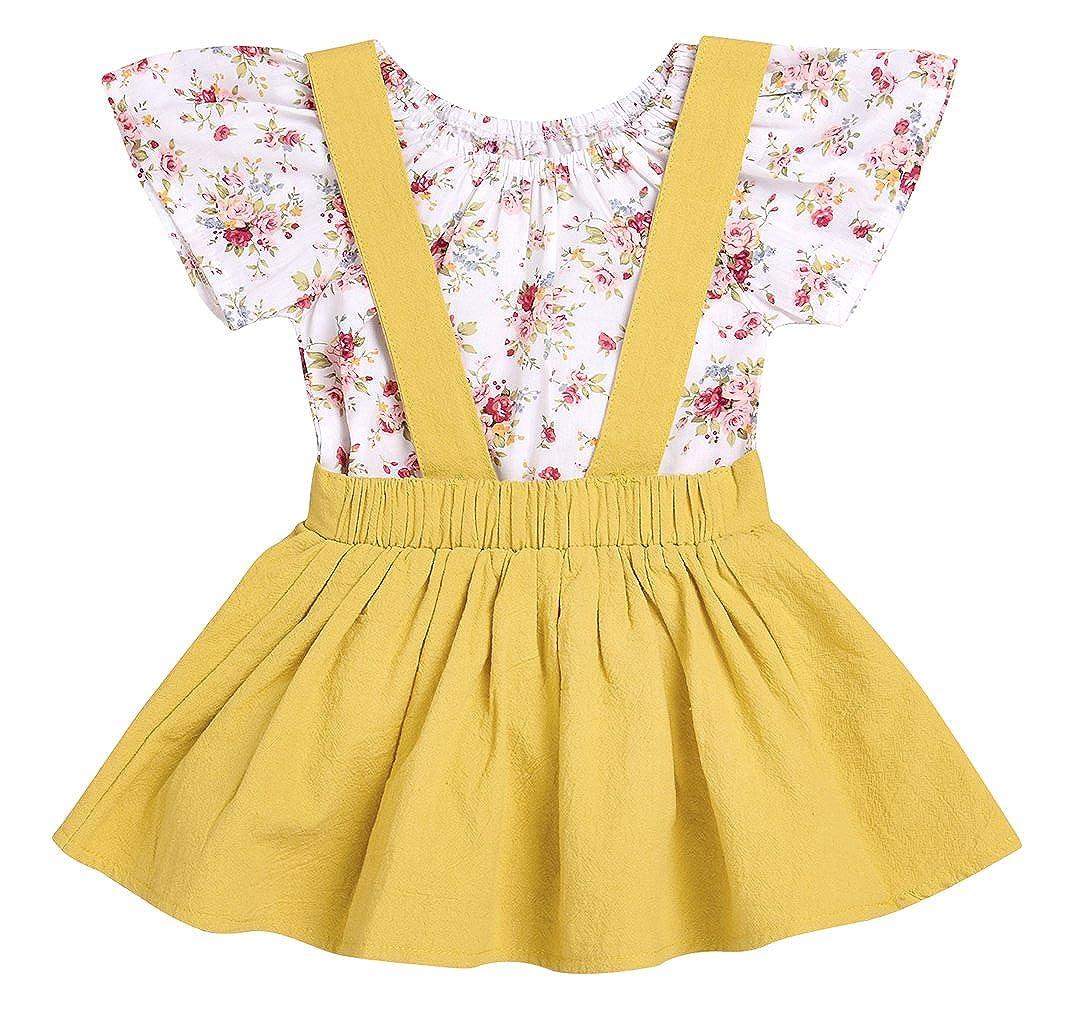 Imsmart SKIRT ベビーガールズ 90(3-6M) Floral+yellow B078S2WB4H