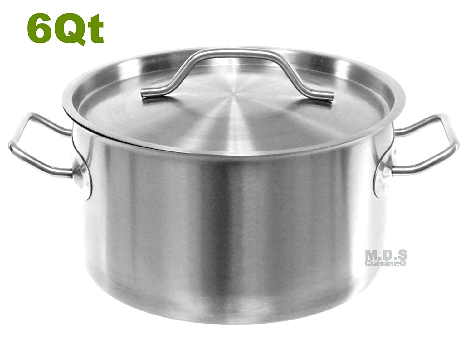 Dutch Oven 6 Qt Encapsulated Pot Stainless Steel Commercial Brush Finish with Lid
