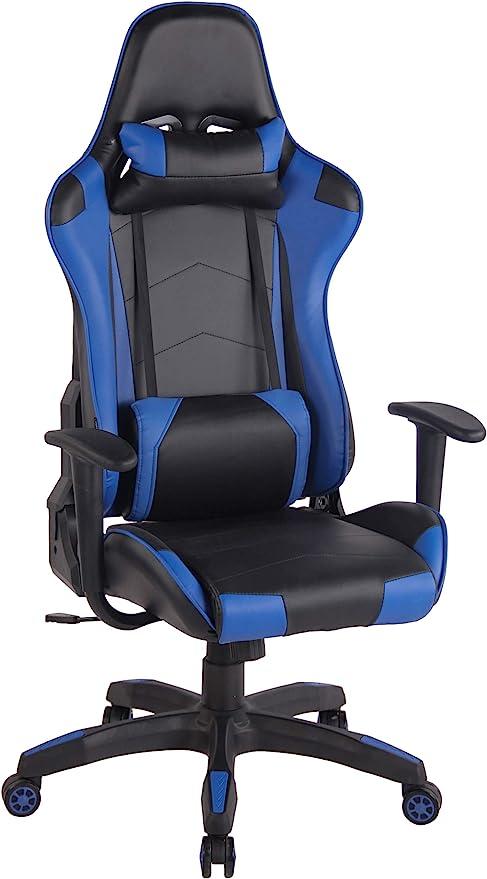 Todo para el streamer: Silla Racing Miracle V2 en Cuero PU I Silla Gaming Regulable en Altura I Silla Gamer con 2 Cojínes Removibles I Silla Ordenador I Color:, Color:Negro/Azul