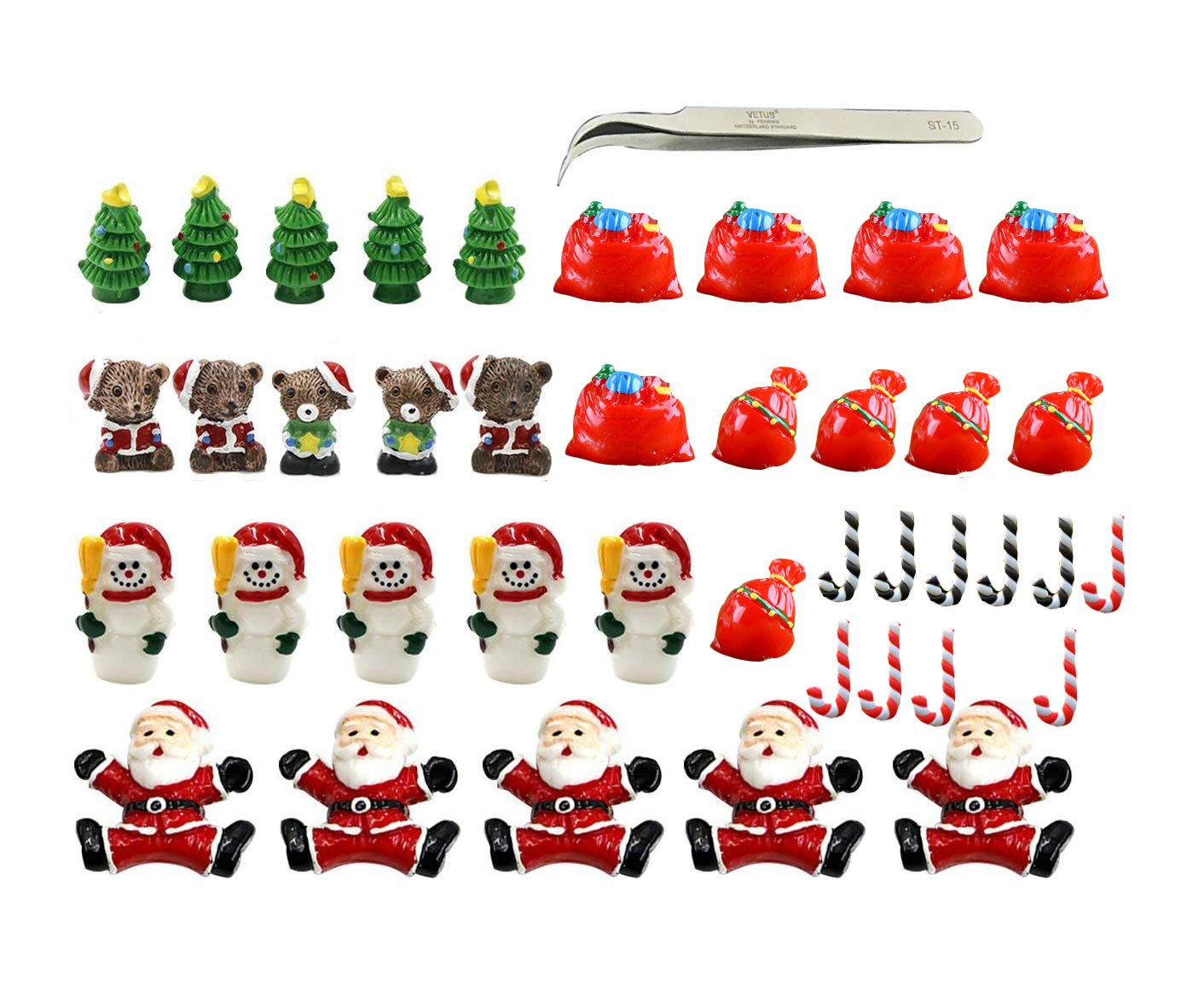 Christmas Miniature Ornaments, 40pcs Christmas Fairy Garden Accessories Kit Dollhouse Miniature Figurines Decoration, Micro Landscape Flowerpot Decor Resin Snowman|Santa|Beer|Xmas Tree with Tweezer
