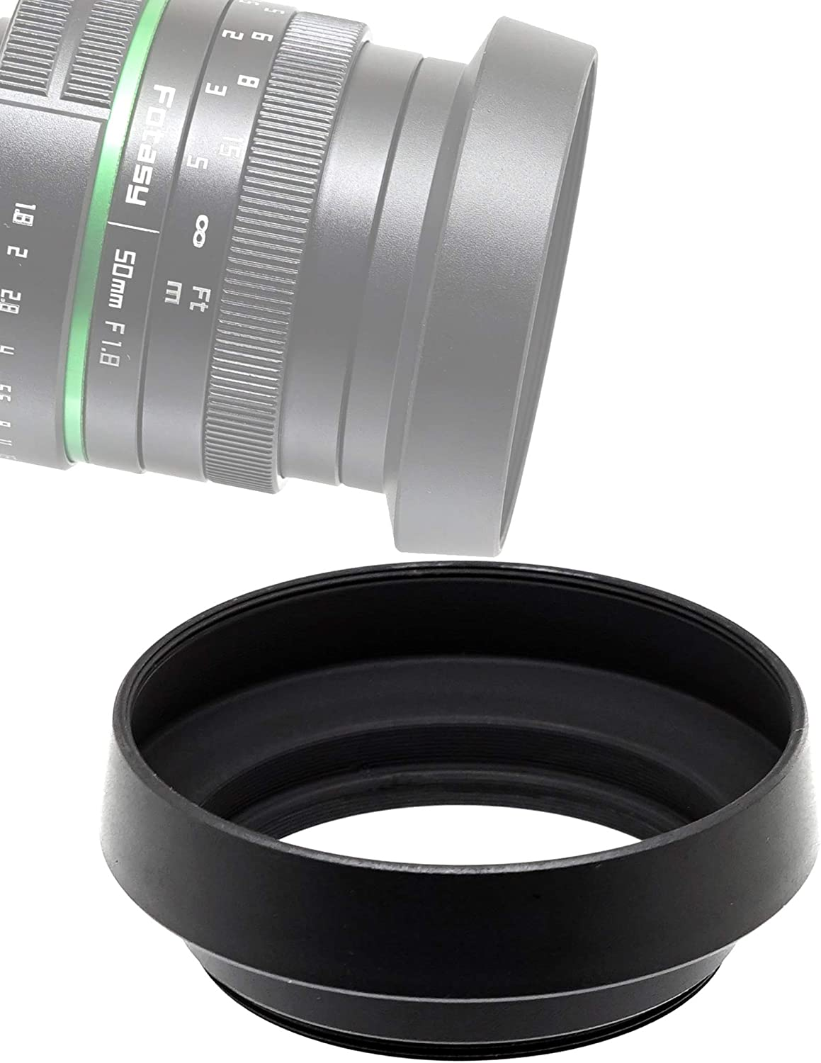 Fotasy Metal Screw-In Lens Hood for Panasonic Lumix 14mm F2.5 /Panasonic 20mm f1.7 Lens/ Leica DG 25mm F1.4 Lens/ Olympus M.Zuiko 17mm f1.8 Lens, 46mm Curved Lens Hood, Panasonic 20mm f1.7 Lens Hood