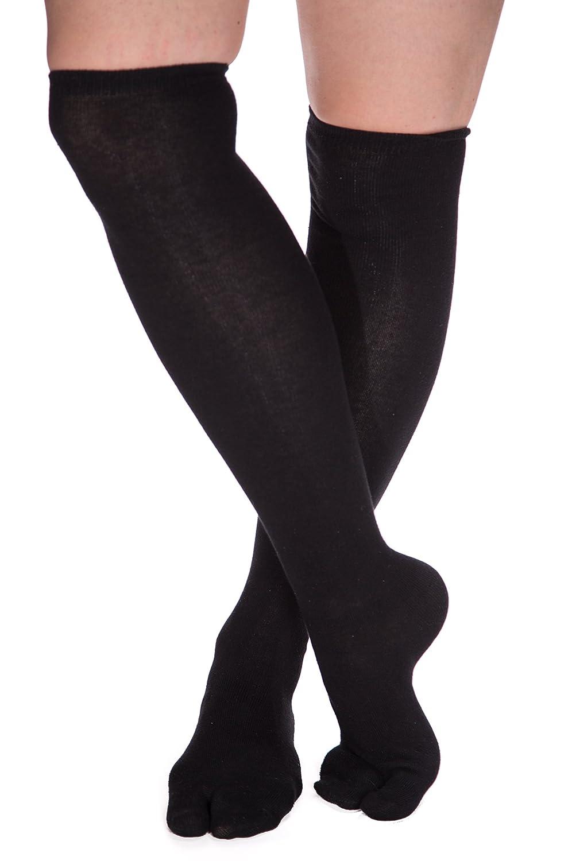 V-Toe Black Over The Knee Flip Flop Tabi Socks (1 Pair)