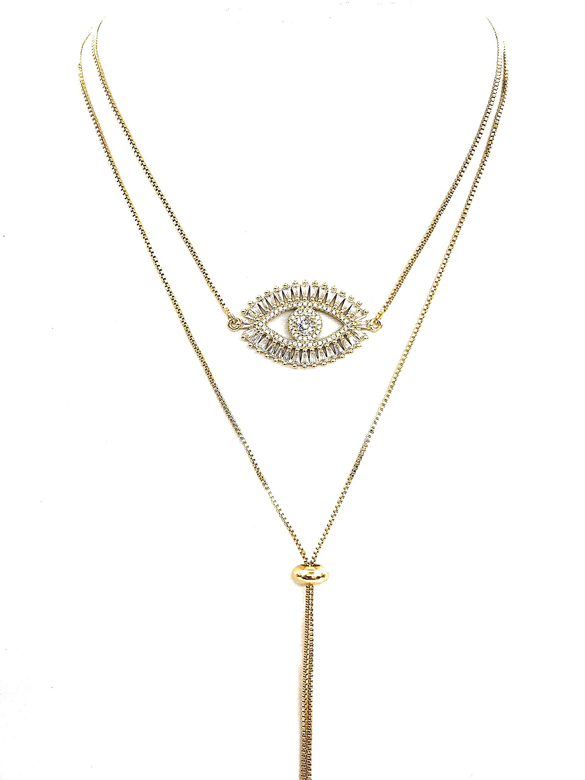 Gold Evil Eye Lariat Necklace for Women 18K Gold Plated Sliding Adjustable Chain Choker Jewelry by LESLIE BOULES