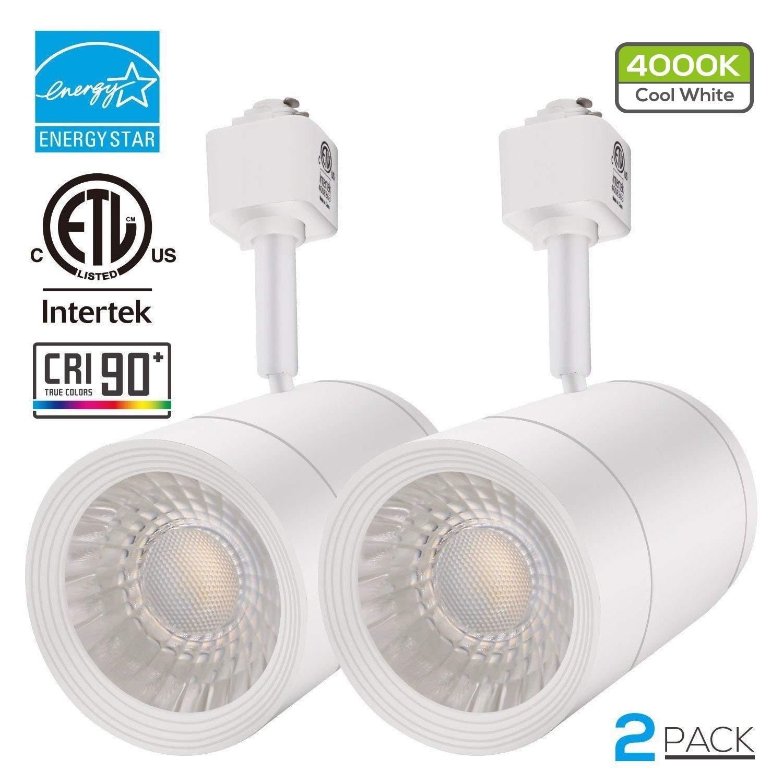 2 PACK 17.5W (85W Equiv.) Integrated CRI90+ LED Track Light Head, Dimmable 38° Spotlight Track Light, 1200lm ENERGY STAR ETL-Listed for Accent Task Wall Art Exhibition Lighting, 4000K Cool White by LEONLITE