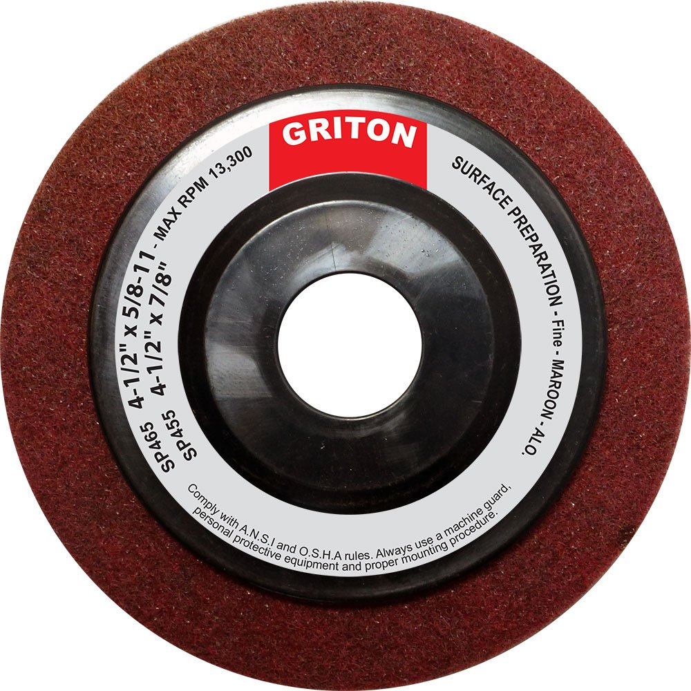 Griton SP455 Aluminum Oxide Fine Surface Preparation Wheel 4-1//2 x 7//8 Pack of 10