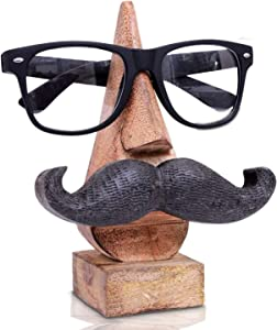 AMERINDIAN Wooden Eyeglass Spectacle Holder Handmade Mustache Display Stand for Office Desk Home Decor Gifts (Single)