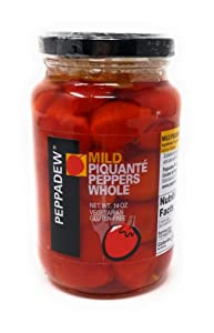 Peppadew Mild Whole Sweet Piquante Peppers, 14-Ounce Glass Jars (Pack of 6)
