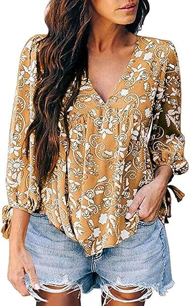 VEMOW Blusas Las Mujeres fluidas de Manga Larga con Cuello en v Remata Las Camisas Flojas Ocasionales del Estampado Floral Blusas Verano Primavera Shirts Camisetas Tops: Amazon.es: Ropa y accesorios