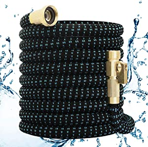 Garden Hose 50FT Lightweight Expandable Flexible Hose Magic Water Hose Retractable Compact Hose Shrinking Hose with 3/4'' Fittings & Triple Latex Core No-Kink Yard Hose for Car Wash,Watering