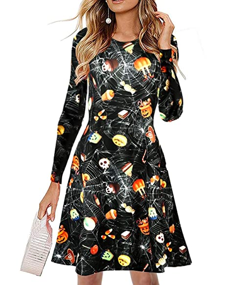 Women Halloween Dress Plus Size Long Sleeve Skull Costume Skeleton Funny  Pumpkin Printed Swing Party Casual Dresses
