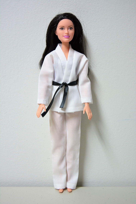 Handmade Doll Clothes White Karate Uniform Gi Judo TKD fits 11