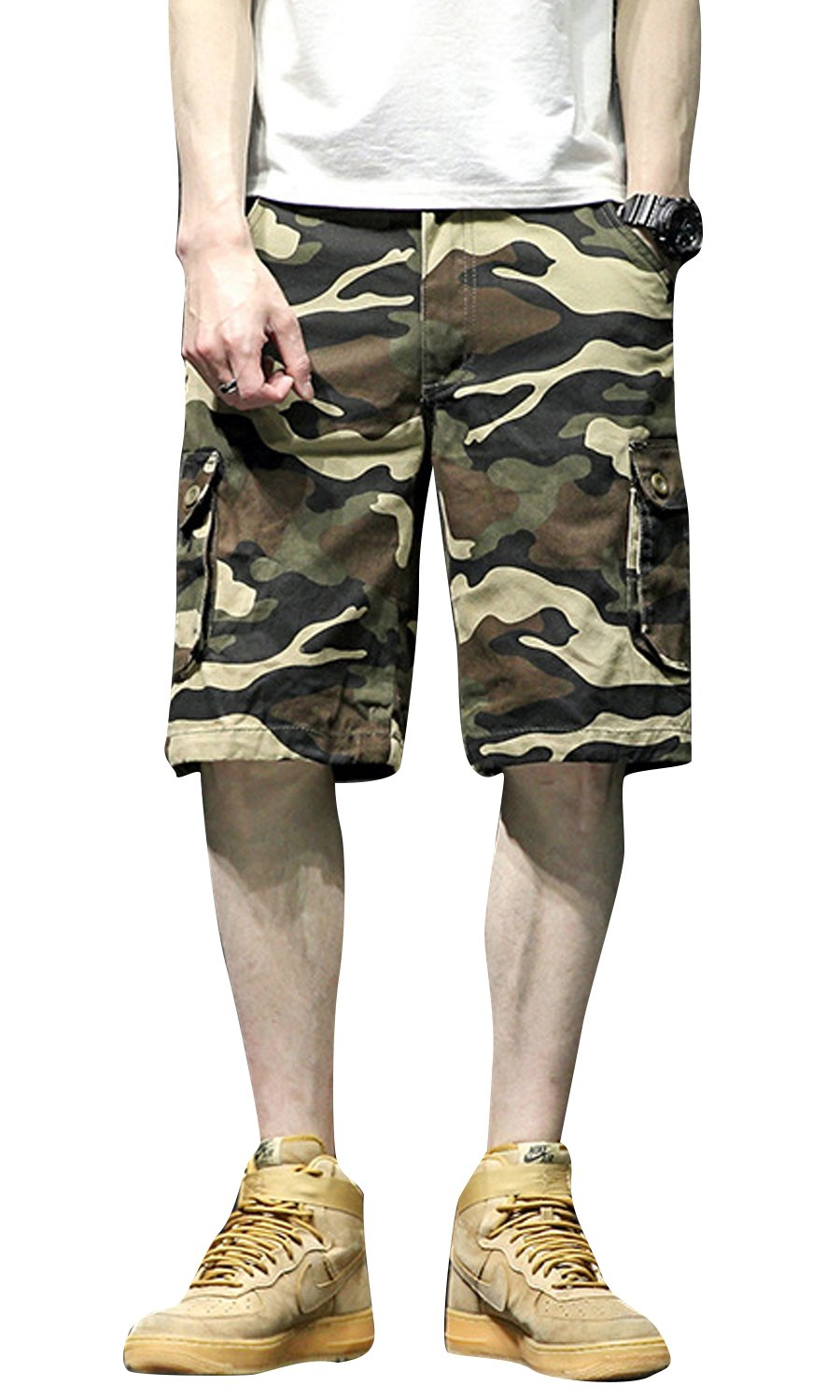 Les umes Men's Casual Summer Work Baggy Bermuda Cargo Combat Camo Chino Shorts