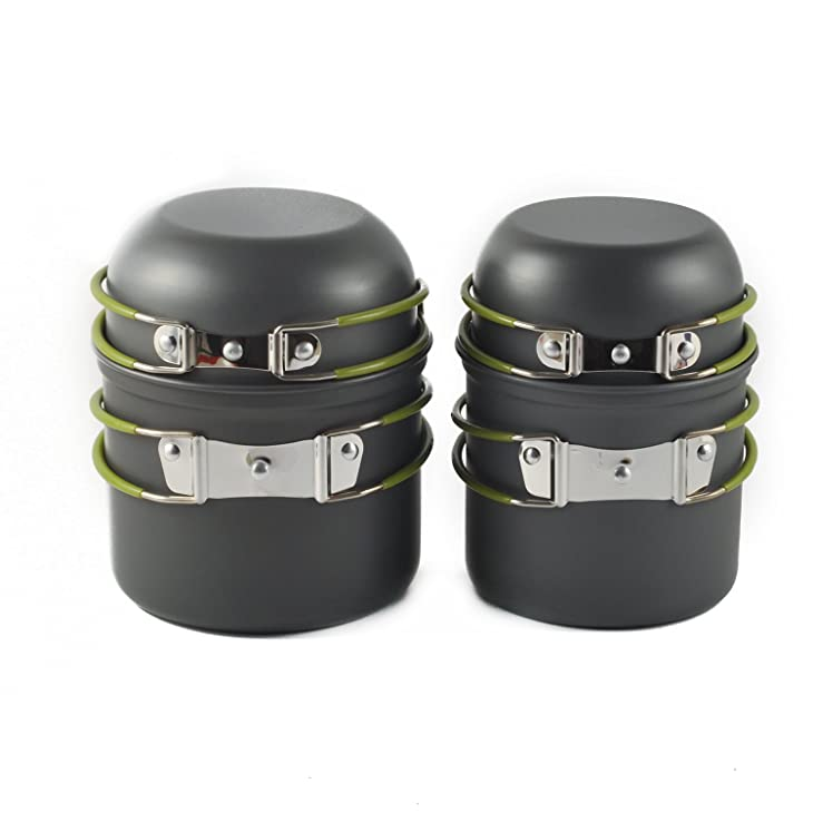 OuterEQ 4pcs Lightweight Outdoor Camping Cookware Hiking Backpacking Cooking Picnic Bowl Pot Pan Set