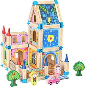 Wondertoys 128 Pcs Wooden Castle Dollhouse with 2 People, DIY Architecture Model Set, Pretend Play Educational Toys for 3 Years Old Boys and Girls Gifts