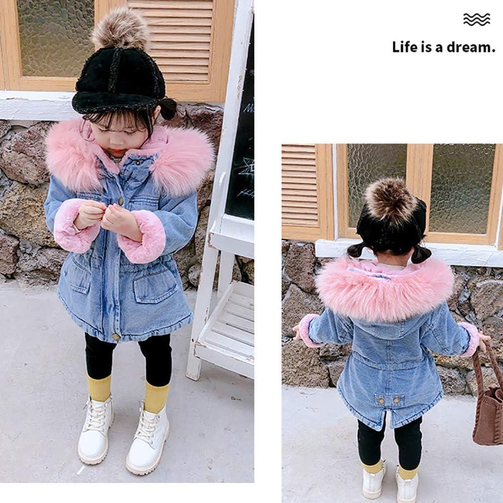 OBEEII Toddler Baby Girls Denim Hooded Jackets Autumn Winter Warm Plus Velvet Coat Snowsuit Outwear