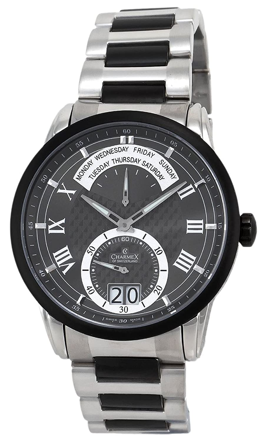 Charmex Zermatt Retrograde Steel & PVD Mens Watch Dark Grey Dial Quartz Day of Week 2156
