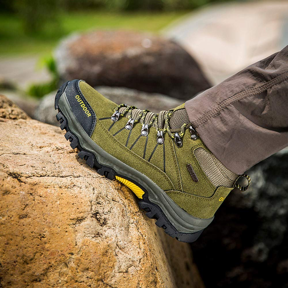 Men Outdoor Shoes Casual Lace-up Comfortable Running Mountaineering Shoes RedBrowm