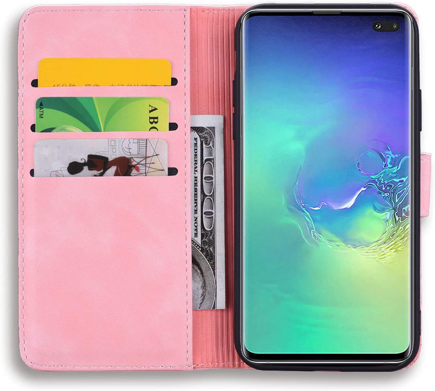 Jorisa Leather Wallet Case for Samsung Galaxy S10e,Retro Embossed Mandala Flower Pattern Flip Stand Case with Card Holder Magnetic Closure Book Style Purse Phone Cover,Black