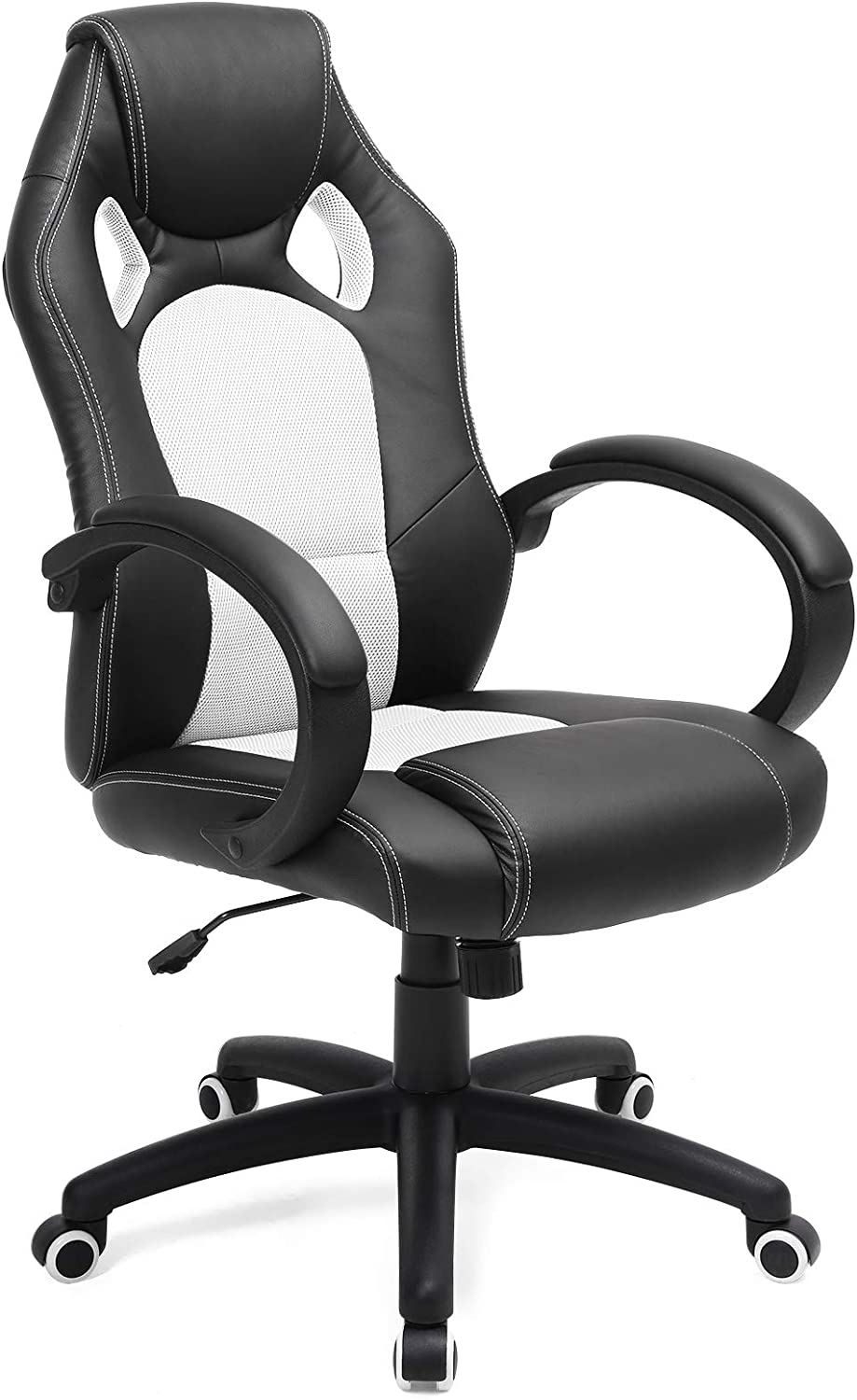 SONGMICS Racing Silla de Escritorio de Oficina Ergonómica Regulable con Ruedas, OBG56BW, Blanco