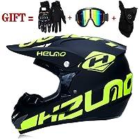 M-GLT Motocross Helmet/Motorrad Crosshelm, mit Handschuhe Sturmmaske und Brille Geeignet für Kinder und Erwachsene