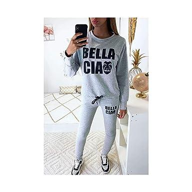 Miss Wear Line - Conjunto de chándal Gris con Escritura Belle Ciao ...