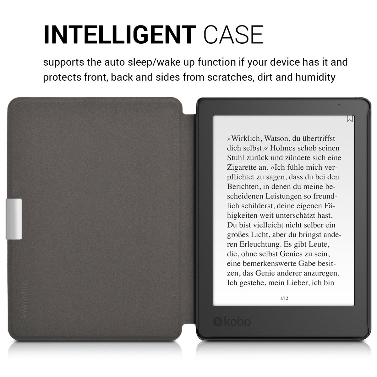 Turquoise//Dark Pink kwmobile Case for Kobo Aura Edition 2 Book Style PU Leather Protective e-Reader Cover Folio Case