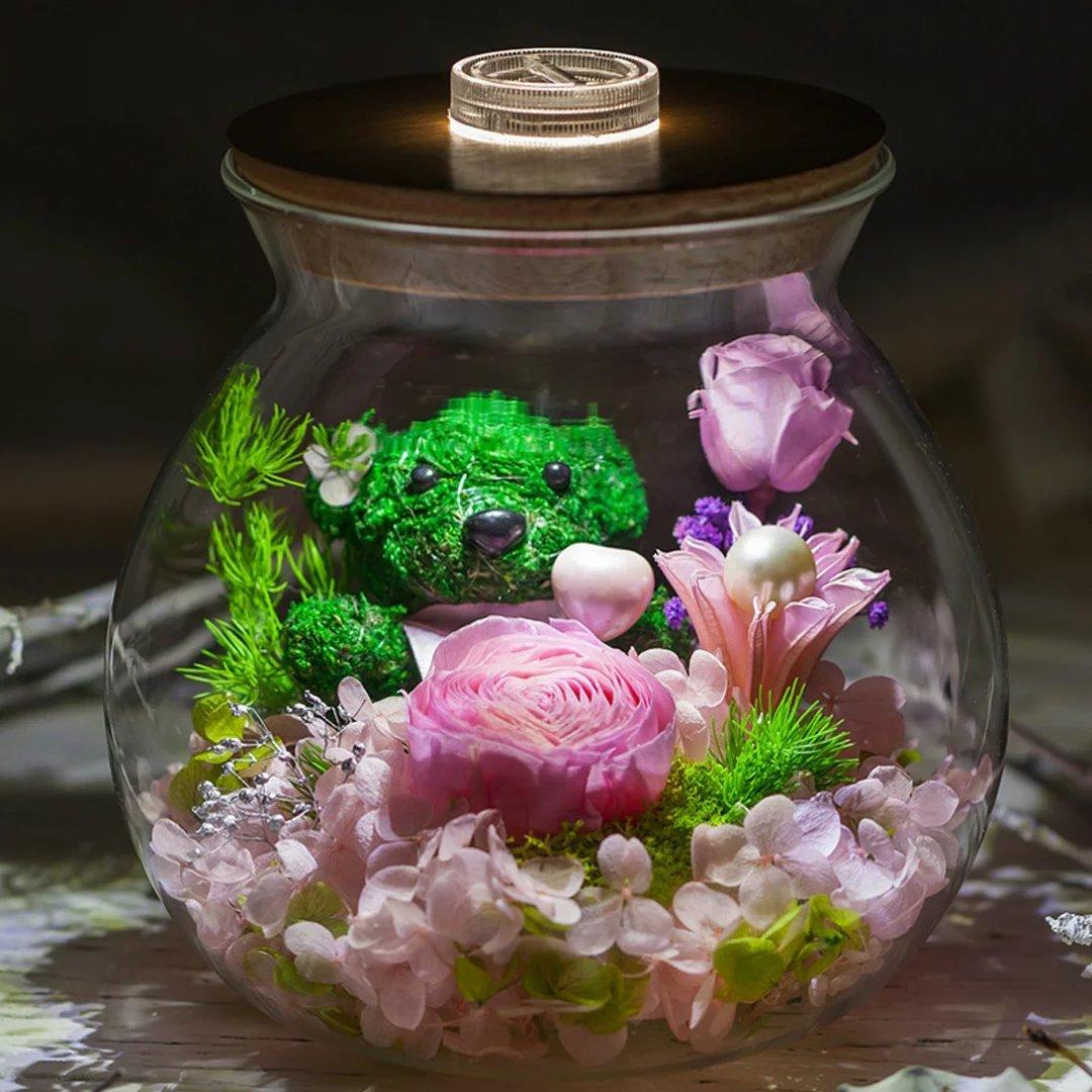 YKFN 夜光 LED ローズ バラ プリザーブドフラワー 枯れない花 ガラスドーム アレンジ 花 お誕生日 お祝い 結婚祝い ギフト 開店 お返し 贈り物 カード付き B06X97LQ9Y  タイプ5
