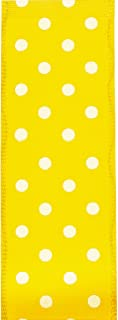 product image for Offray, Yellow Wired Edge Polka Dot Craft Ribbon, 1 1/2-Inch x 9-Feet