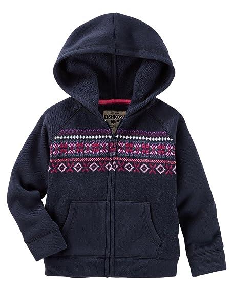 Amazon.com: OshKosh B'gosh Little Girls' Hooded Fair Isle Sweater ...