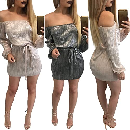 Women Girls Sexy Off Shoulder Wrapped Long Sleeve Bodycon Party Club Mini Dress