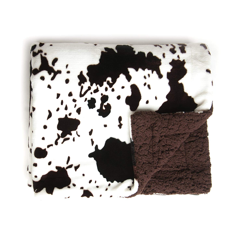 Tadpoles Plush Sherpa Cowhide Print Double Layer Baby Blanket