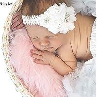 Miugle Baby White Headband,Baby Girl Headbands,Lace Headband,Newborn Headband,Baby Bows