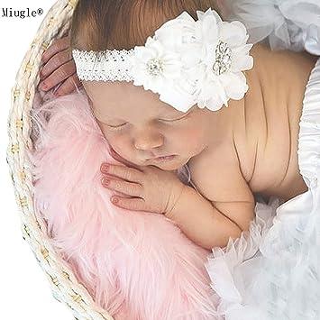 Baby Girl White Christening Headband Baptism Wedding Bow Photography Hairband