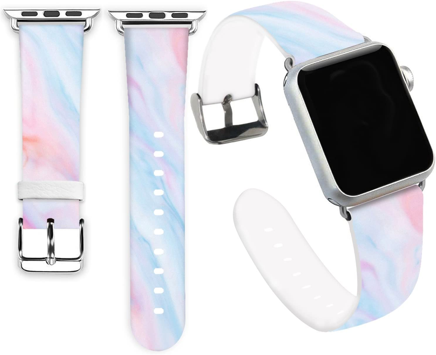 Iwatch 2 Band 38mm,Jolook Soft Leather Sport Style Replacement iWatch Strap for Apple Watch 38mm 40mm Series 6/5/4/3/2/1 - Unique Rainbow