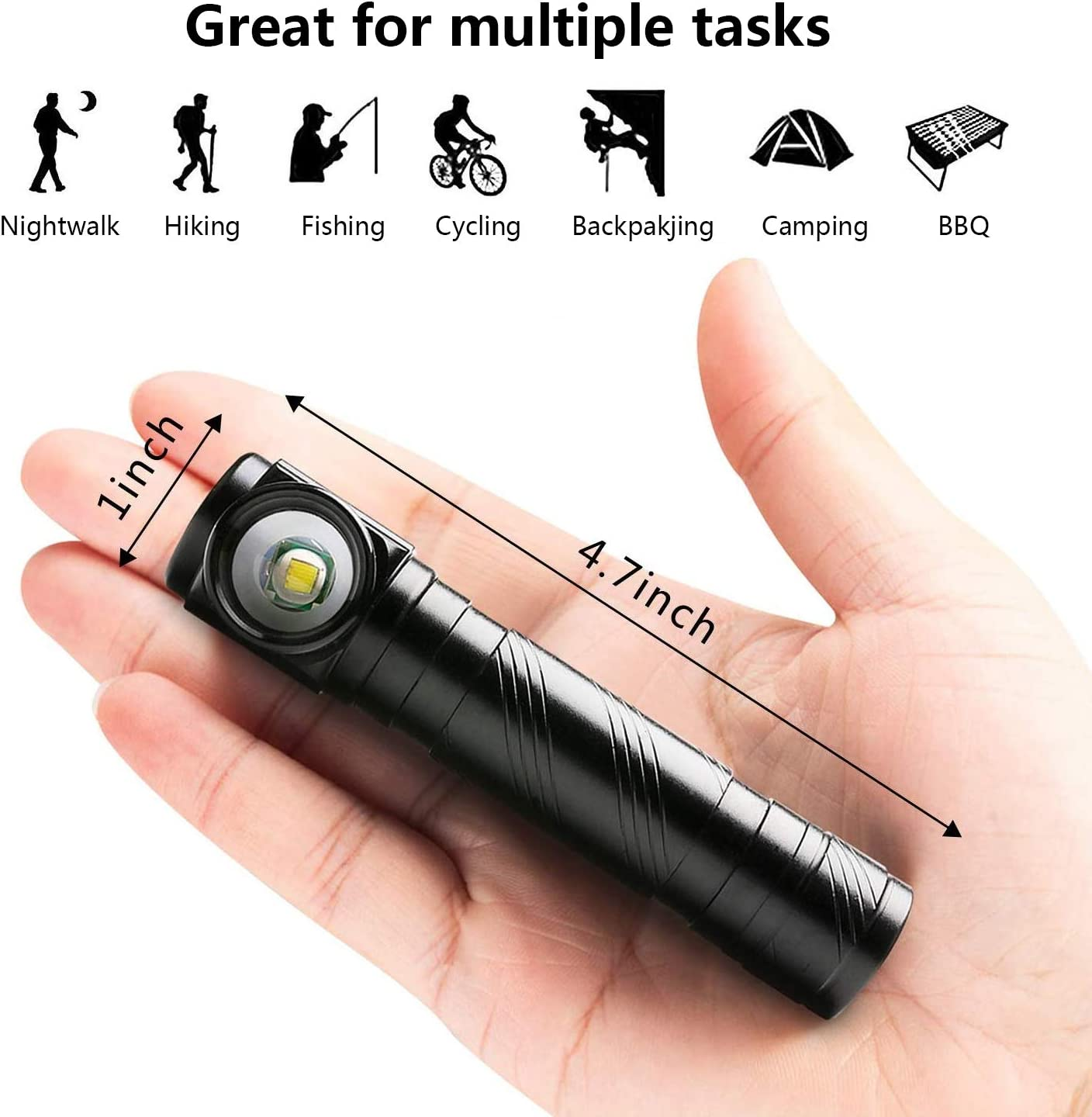 USB Rechargeable Super Bright Pocket-Sized Mini Flashlight IPX65 Water Resistant Zoomable Magnetic Emergency Right Angle Flashlight for Outdoor Camping,Hiking and Cycling Black-1pc