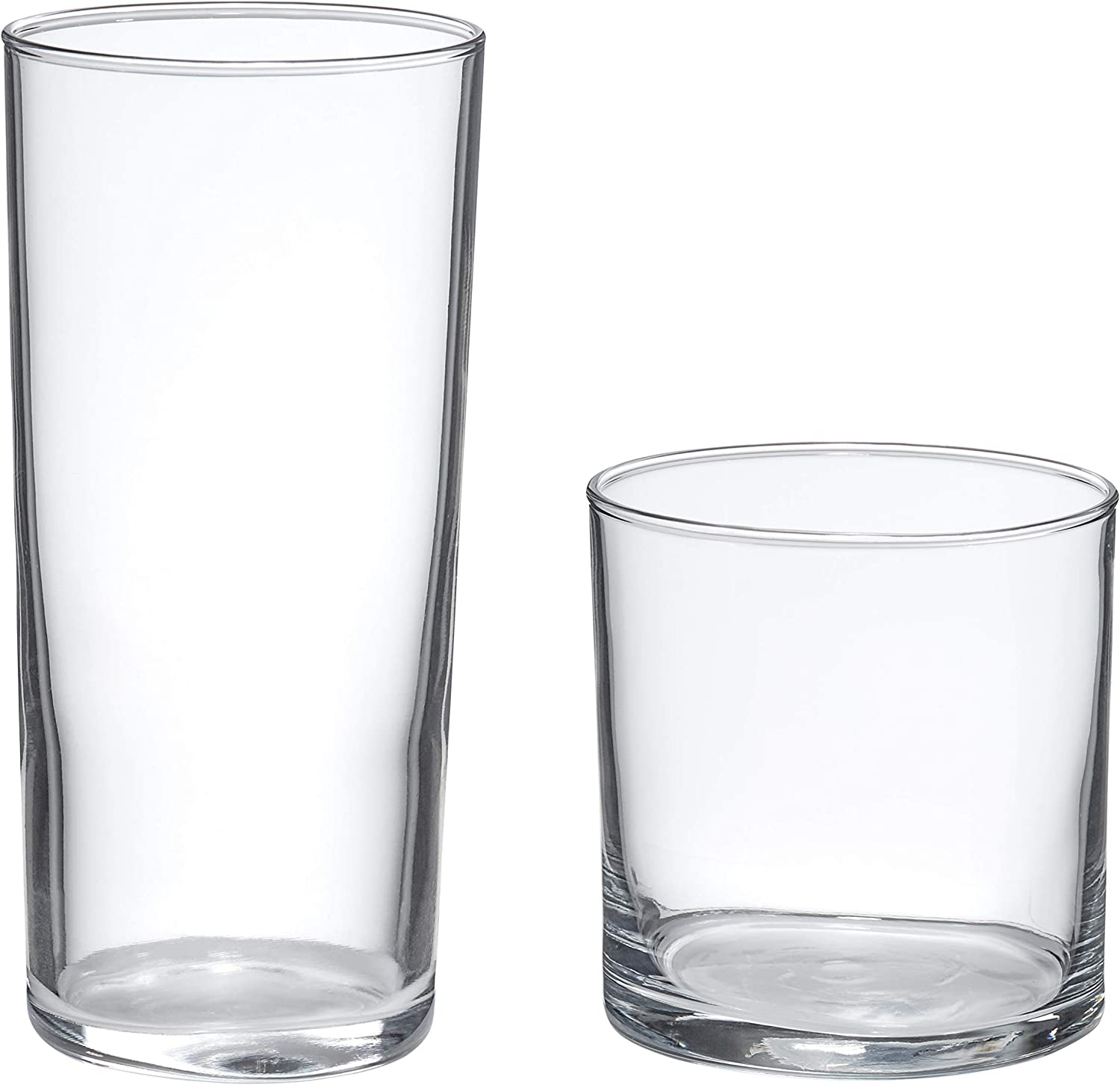 AmazonBasics Ridgecrest 16-Piece Old Fashioned and Coolers Glass Drinkware Set