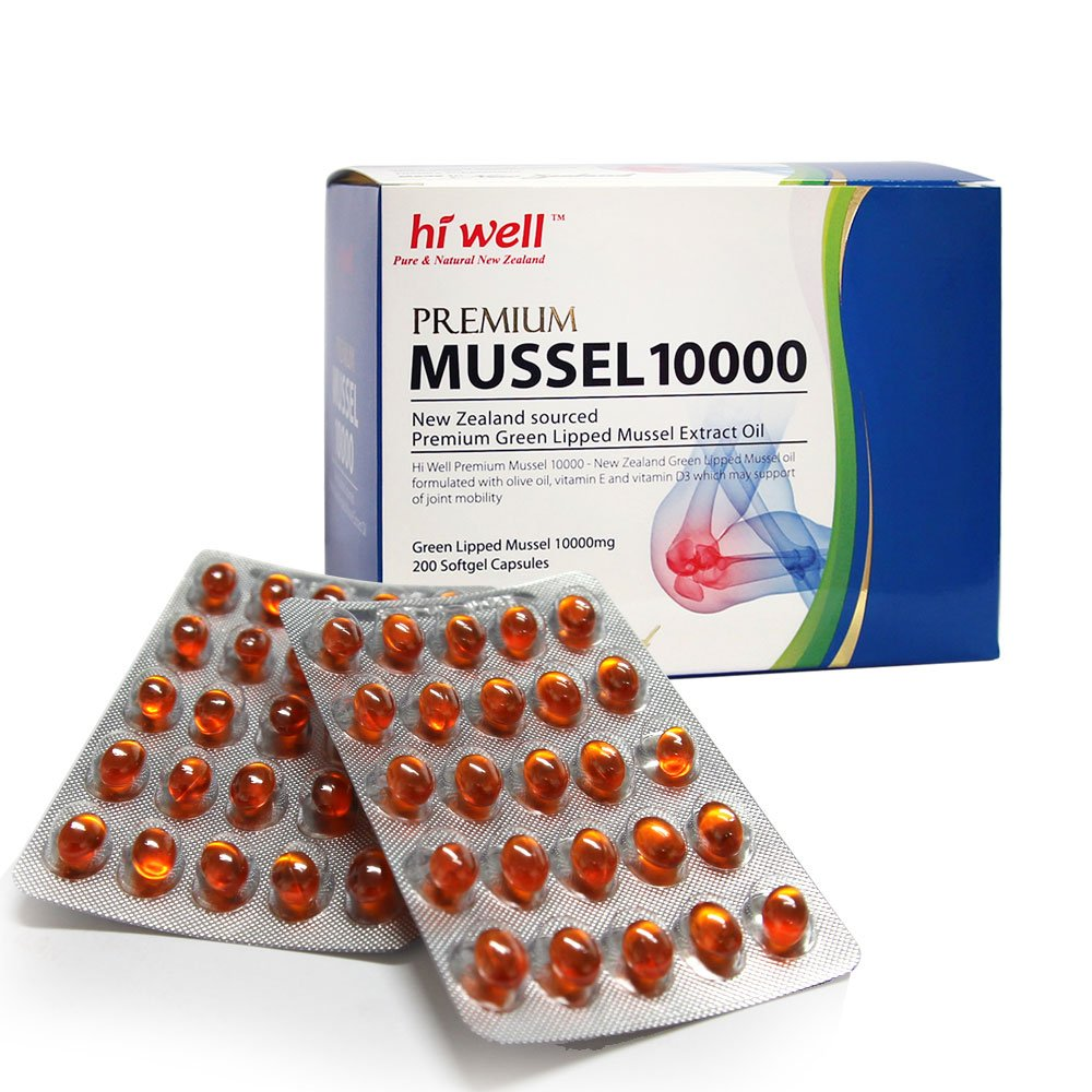 Hi Well Premium Green Lipped Mussel 10000mg 200 Capsules New Zealand Green Lipped Mussel Extract Oil Joint Health Support & Mobility by Hi Well