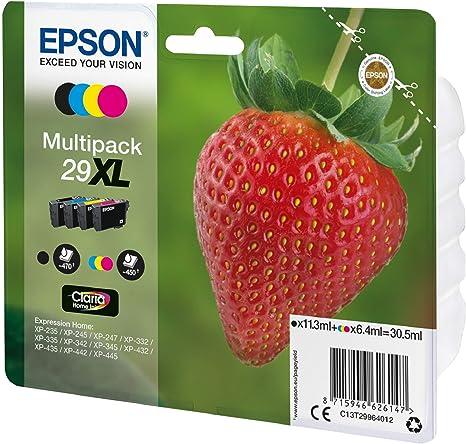 Epson Claria Home 29 - Multipack XL 30.5 ml, negro, cian, magenta y amarillo, paquete estándar, XL válido para los modelos XP-235, XP-245, XP-247 y ...